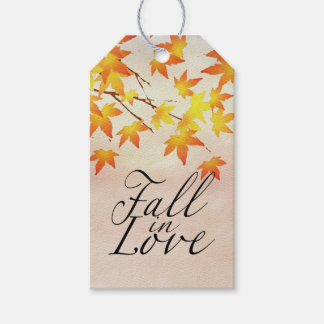 Watercolor Painted Orange Autumn Maple Leaves Gift Tags