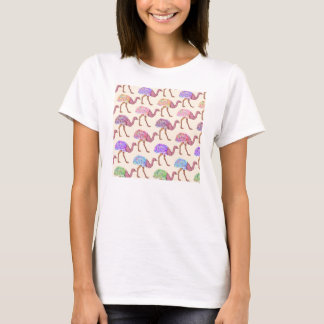 Watercolor Painted Ostrich Pattern T-Shirt