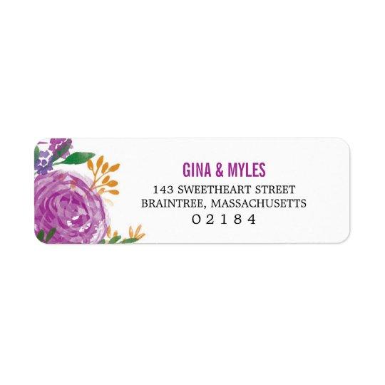 Watercolor Painted Purple Blooms | Return Address Return Address Label
