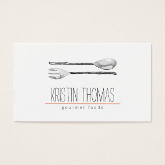 Watercolor Painted Spoon and Fork Catering Business Card