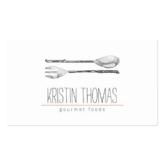 Watercolor Painted Spoon and Fork Catering Pack Of Standard Business Cards