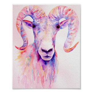Watercolor Painting Abstract Ram Poster