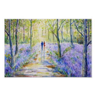 Watercolor Painting Bluebell wood Walk Poster