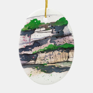 Watercolor Painting Ceramic Oval Decoration