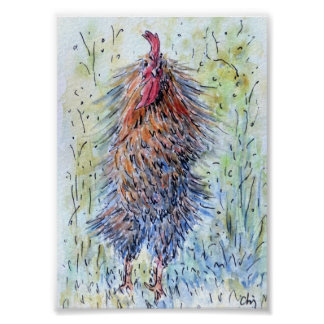 Watercolor Painting Fun Rooster Poster