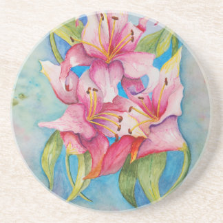 Watercolor Painting Group of Lilies Drink Coasters