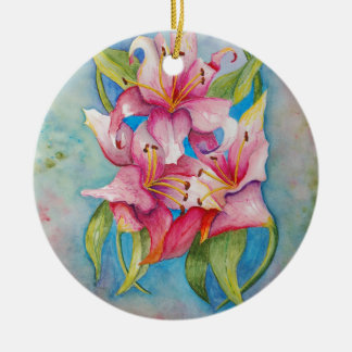 Watercolor Painting Group of Lilies Christmas Tree Ornaments