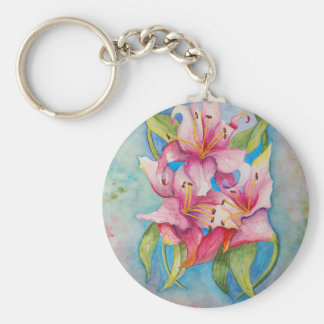 Watercolor Painting Group of Lilies Keychains