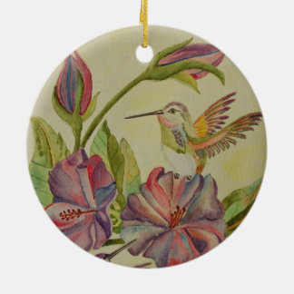 Watercolor painting hummingbirds and hibiscus ornaments