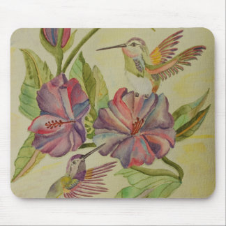 Watercolor painting hummingbirds and hibiscus mousepads