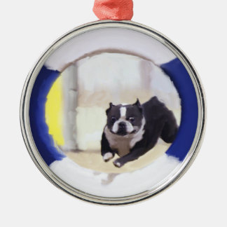 Watercolor painting of a Boston Terrier jumping Ornaments