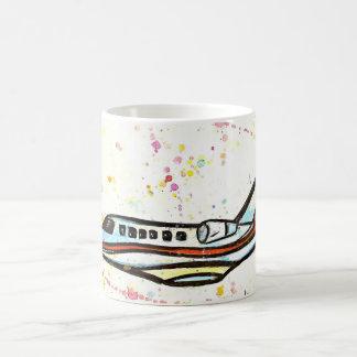 Watercolor painting of an executive jet coffee mug