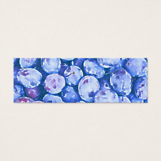 Watercolor Painting of Blue Plums Mini Business Card