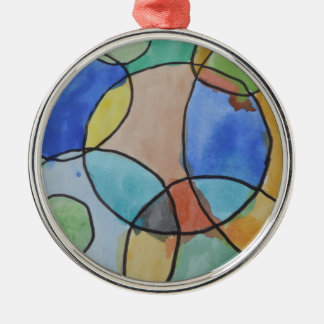 Watercolor Painting of Colorful Circles, Kids Art Silver-Colored Round Decoration