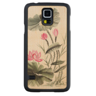 Watercolor Painting Of Lotus Flower 2 Carved Maple Galaxy S5 Case