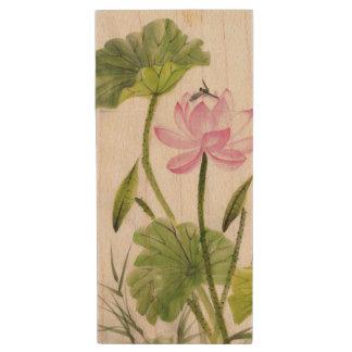 Watercolor Painting Of Lotus Flower 2 Wood USB 2.0 Flash Drive