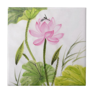 Watercolor Painting Of Lotus Flower 2 Small Square Tile