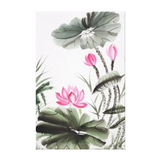 Watercolor Painting Of Lotus Flower Canvas Print