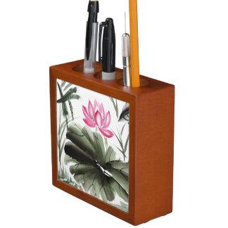 Watercolor Painting Of Lotus Flower Desk Organiser