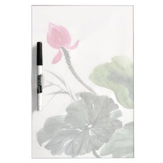 Watercolor Painting Of Lotus Flower Dry Erase Board