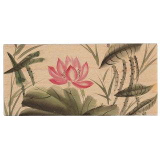 Watercolor Painting Of Lotus Flower Wood USB 2.0 Flash Drive