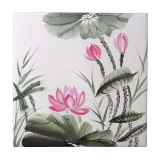 Watercolor Painting Of Lotus Flower Small Square Tile