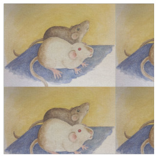 Watercolor Painting of Siamese & Dark Rats Fabric