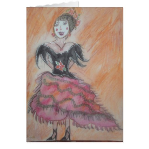 Watercolor painting of Spanish Flamenco Dancer Note Card