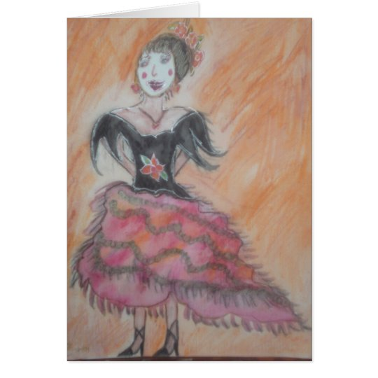 Watercolor painting of Spanish Flamenco Dancer Card