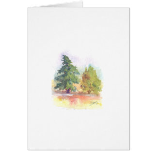 Watercolor painting of two trees greeting card