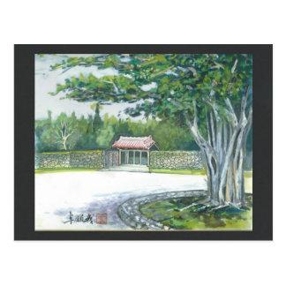 Watercolor painting postcard Okinawa Banyan Gate