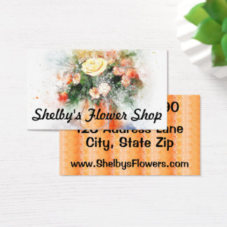 Watercolor Painting Rose Flower Vase Business Card