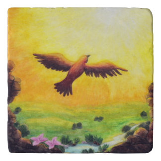 watercolor painting vintage eagle rising into the trivet