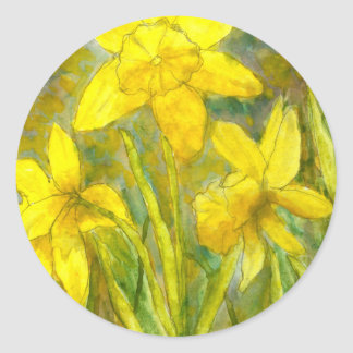 Watercolor Painting, Yellow Flowers Art, Daffodils Round Sticker