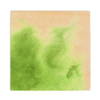 watercolor paints on a rough texture paper wood coaster