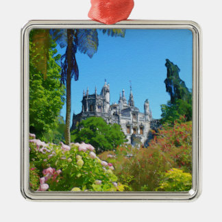 Watercolor palace christmas ornament