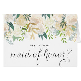 Watercolor Pale Peonies Be My Maid of Honor Card
