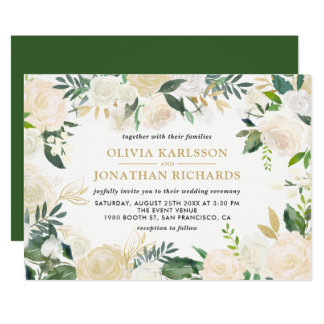 Watercolor Pale Peonies Gold Accent Wedding Card