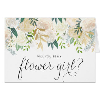 Watercolor Pale Peonies Will You Be My Flower Girl Card
