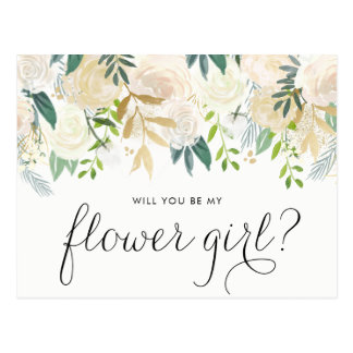 Watercolor Pale Peonies Will You Be My Flower Girl Postcard