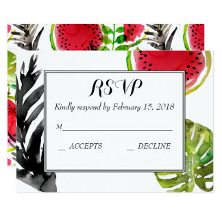 Watercolor palm leaves watermelon RSVP Card