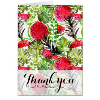 Watercolor palm leaves watermelon  Thank You Card