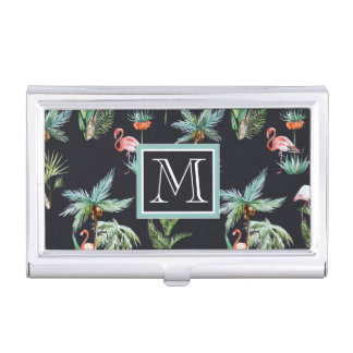 Watercolor Palm Pattern | Add Your Initial Business Card Holder