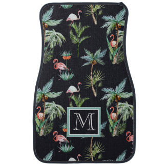 Watercolor Palm Pattern | Add Your Initial Car Mat