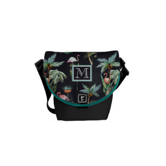 Watercolor Palm Pattern | Add Your Initial Commuter Bags