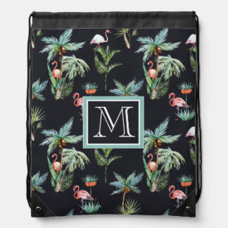 Watercolor Palm Pattern | Add Your Initial Drawstring Bag