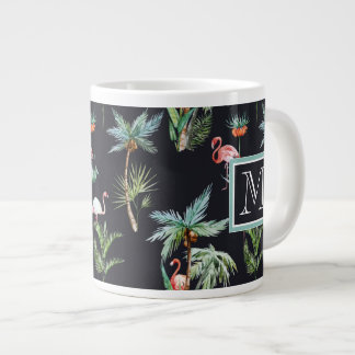 Watercolor Palm Pattern | Add Your Initial Giant Coffee Mug