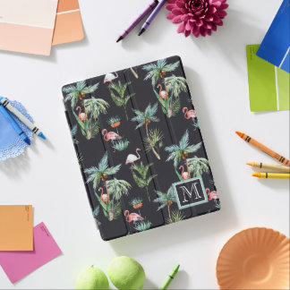 Watercolor Palm Pattern | Add Your Initial iPad Cover
