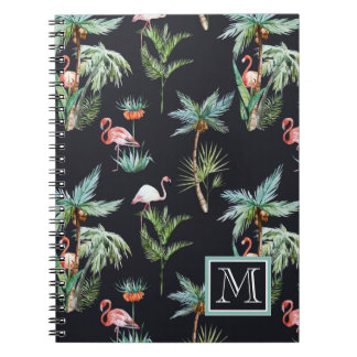 Watercolor Palm Pattern | Add Your Initial Notebook