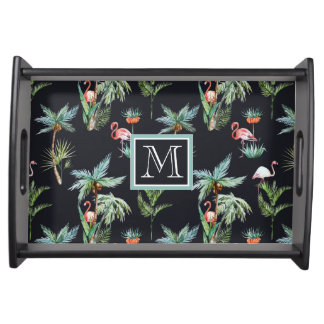 Watercolor Palm Pattern | Add Your Initial Serving Tray